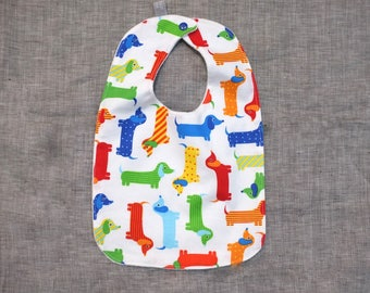 bib baby toddler gift dachshund newborn / eco friendly / organic cotton bamboo / baby shower gift / sausage dog doxie weiner