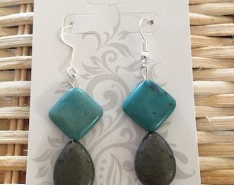 Blue Jasper and Pyrite Sterling Silver Earrings