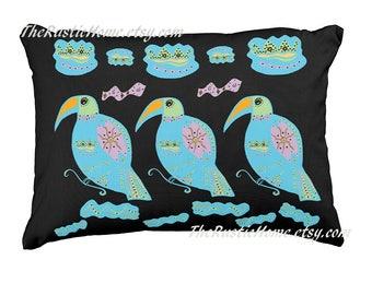 Colorful toucan pillow bohemian birds pillow toss pillow rustic home decor rainforest birds toucans primitive pillow birds on black or white