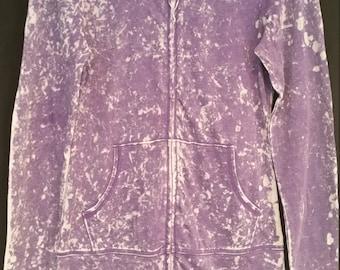 tennis acid wash hoodie in purple