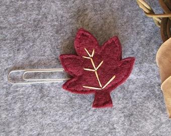 Leaf paper clip; Felt paper clip; Bordeaux Leaf; Fall Planner accessories; planner clip; Felt bookmark; Gift under 3; Stocking stuffers