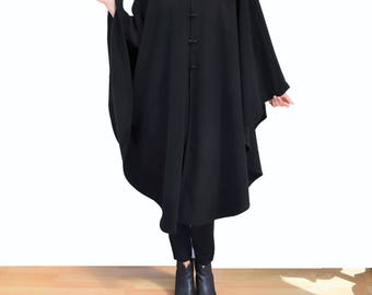 Black Wool Cape, Long Hooded Cloak, Black Cape Coat, Black Hooded Poncho, Cape Jacket, Oversized Coat, Womens' Plus Size