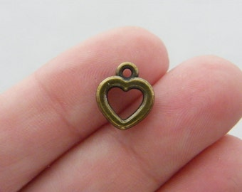 BULK 50 Heart charms antique bronze tone BC7