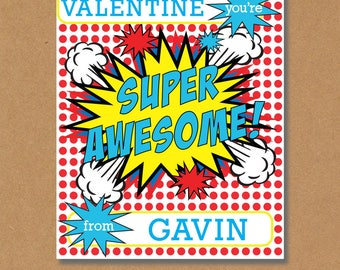 Superhero Valentines, Super Hero Valentines Day Cards, Printable Valentines, Printable Cards, Comic Book Valentine Cards