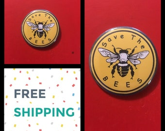 Save The Bees Button Pin, FREE SHIPPING & Coupon Codes