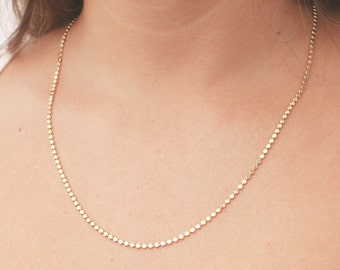 Gold Necklace, Gold Chain Necklace, Dainty Gold Bead Necklace, Everyday Necklace, Layering Necklace, 24k Gold Plated Jewelry.