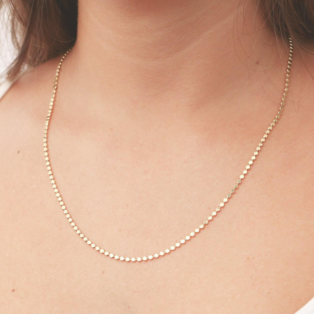 Gold Necklace Gold Chain Necklace Dainty Gold Bead Necklace