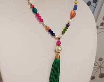 Tassel necklace, Gemstone and Crystal Tassel necklace, Tassel Bohemian necklace, Statement Tassel necklace, Boho Style necklace, Tassel