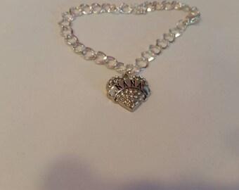 Modern,  Trendy Sterling Silver Plated Half Textured, Half Smooth Nana Charm Bracelet