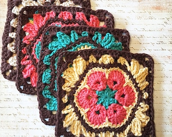 African Flower Granny Square  Crochet Pattern