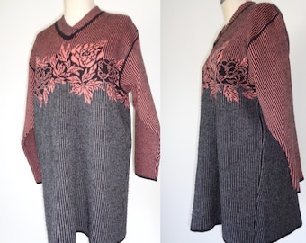 Vtg 80s FRENCH Two Tone Sweater with FLORAL Bust & Stripes! Small, Medium, Large