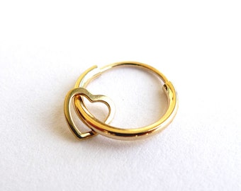 Carry Your Heart. 14K Gold Heart Hoop Earring. Cartilage Heart Hoop. One Small Hoop Earring. Gold Heart Earring. Limited Edition.