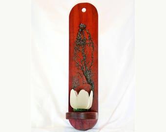 Wood Sconce- Wood Wall Art Candle holder, Lichtenberg figures, Fractal Burning