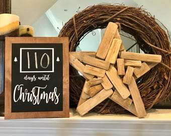 Wooden Countdown to Christmas Sign, Days Until