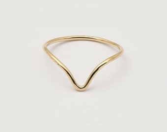 solid gold chevron stacking handmade forged ring