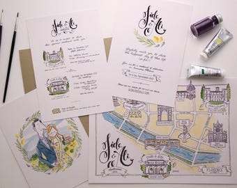 Illustrated Wedding Suite: Invitation, Programme & Map - watercolour illustration, bespoke stationery, wedding illustration, calligraphy