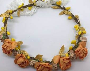 Rustic Fall Flower Crown, fall flower crown, boho flower crown