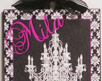 Shabby French Chandelier and Damask Personalize with Your Name Wood Wall Plaque