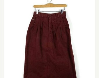 ON SALE Vintage Reddish Brown  Cotton Long Skirt from 90's/W25