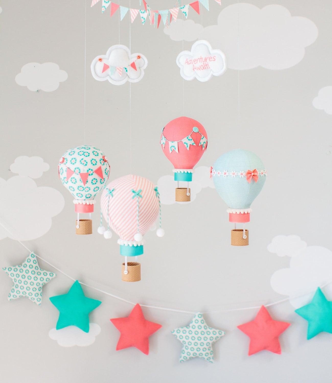 Koralle und Aqua Heißluftballon Baby Mobile Kinderzimmer