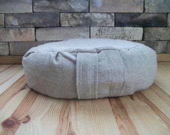 "Meditation Cushion. Zafu. Floor Pillow. Natural Linen/Rayon Blend Slub Fabric. 15x5 Buckwheat Hull filled. 5"" Sidewall Zipper. Handmade, USA"