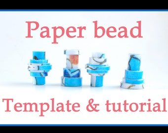 Paper bead template & tutorial printable download. Blue, red, black  white. Rijksmuseum.Make your own paper beads Tube bead