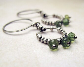 Silver Beaded Ring Earrings with Pale Green Apatite