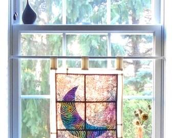 Waxing Moon ~ Bleached Art Batik ~ Stained Glass Look Fabric Pojagi Window Treatment / dorm / cafe / boudoir curtain