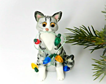 Silver Tabby Cat Christmas Ornament Figurine Lights Porcelain