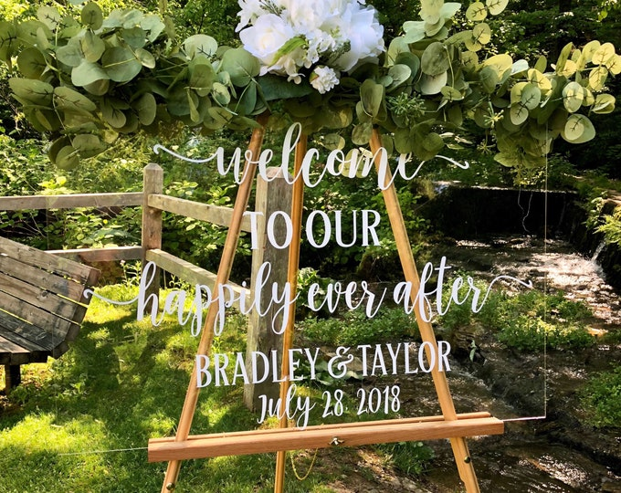 Wedding Decal Welcome to our Happily Ever After Vinyl Decal for Wedding Sign Rustic Barn Wedding Decor DIY Lettering for Sign Personalized