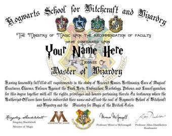 hogwarts diploma etsy