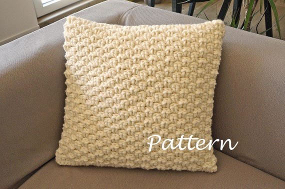 CROCHET PATTERN Chunky Cabled Pillow Pattern Crochet Pillow