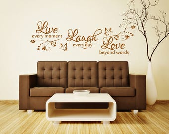 Live Laugh Love Wall Sticker - Home Kitchen Family Wall Art Quote Decal X42