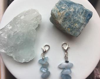Aquamarine w Hematite Charm
