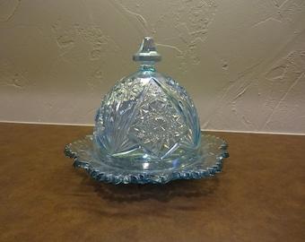 Opalescent Blue Glass Butter Dish.