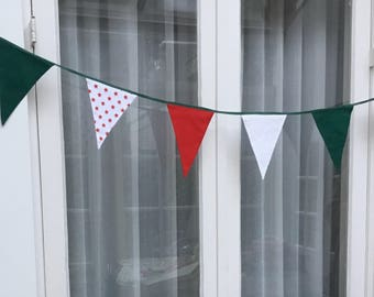 Merry party flags in Christmas coloring
