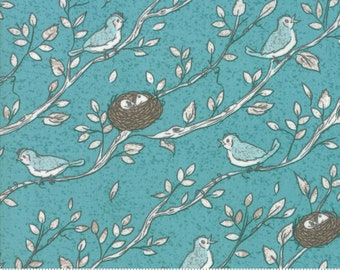 Nest Fabric by Lella Boutiquee for Moda, #5061-16, Pond, Birdsong Dark Turquoise, Dusty Blue, Birds Nest - IN STOCK