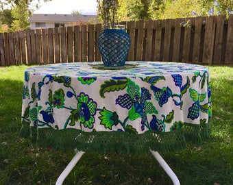 Vintage Round Blue and Green Florals with Fringe Tablecloth