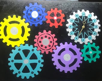 Gears to the clock canvas oil painting with clock