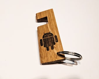 Wooden iPhone / Android / Smartphone Stand Keyring - Oak - Android Design