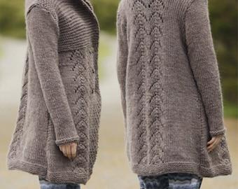 Knit Coat, Knit Jacket, long jacket, knitted cardigan, Winter wool jacket