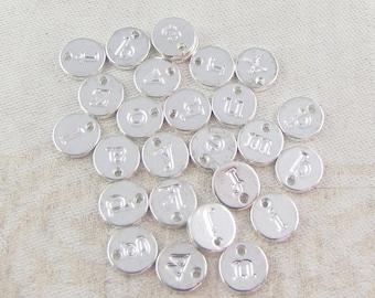 26 pcs, Full Alphabet, Initial Charm, Charm Bracelet, Lower Case Letter, Initial Pendant, Alphabet Charm, Silver Charm, ALF021az-PL