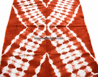 Authentic Mali mudcloth, wholesale/ Orange Red Bogolan mudcloth fabric/ West African Fabric/ African mud cloth/ African cloth/ MC113