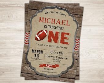 Football First Birthday Invitation. Football 1st Birthday Invite. Printable Football Invitation. Sports Football Party Invite. Rustic Wood