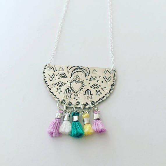 Frida Kahlo Inspired Tassel Necklace - Sacred Heart - Hamsa - Talisman -  Hand Stamped - Boho - Festival