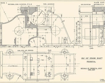 Machine drawing 1930s vintage industrial print engineering machine drawing crank shaft 1930s vintage industrial print engineering drawings blueprint art plan gift home malvernweather Image collections