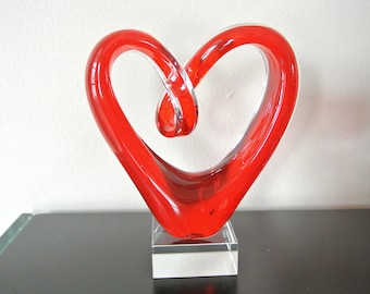 Glass - footed - red heart-