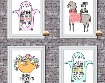 Nursery Decor/Children Room Decor/Wall Art /Printable/JW Printable/Pray Anytime/Become Jehovah's Friend/Listen Obey and Be Blessed