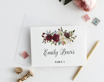 Floral Wedding Place Cards Template Wedding, Printable Wedding Place Card Template Floral, Burgundy Wedding Place Cards Printable Editable