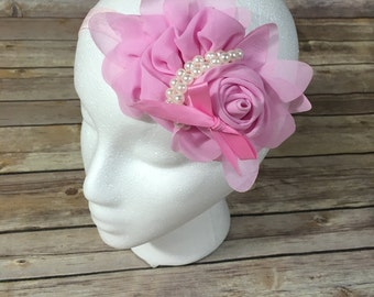 Flower headband with pearl rope